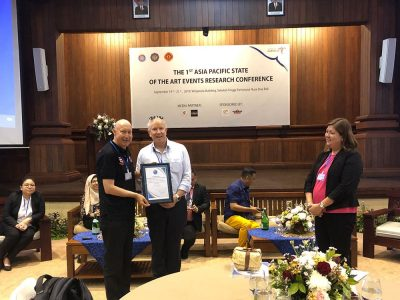 Dr Rob Harris (pictured) and Dr Katie Schlenker received the 'Best Conference Paper Award' at the Asia Pacific State of the Art Event Research Conference in Bali  (September 2019)