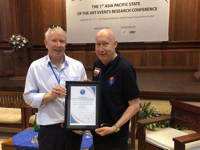 Dr Rob Harris's contribution to the international event's industry was acknowledged at the recent (September 2019) Asia Pacific State of the Art Event Research Conference in Bali where he was appointed a Professional Fellow of the Asia Pacific Institute of Event Management.